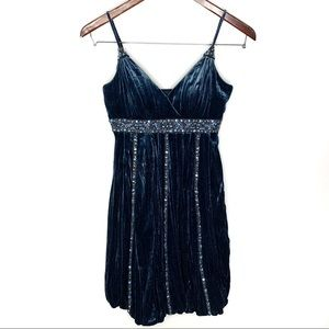Sue Wong Nocturne Blue Velvet 100% Silk Mini Dress